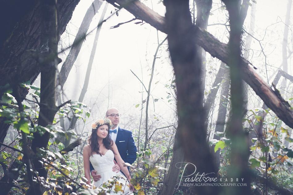 plener ślubny we mgłach