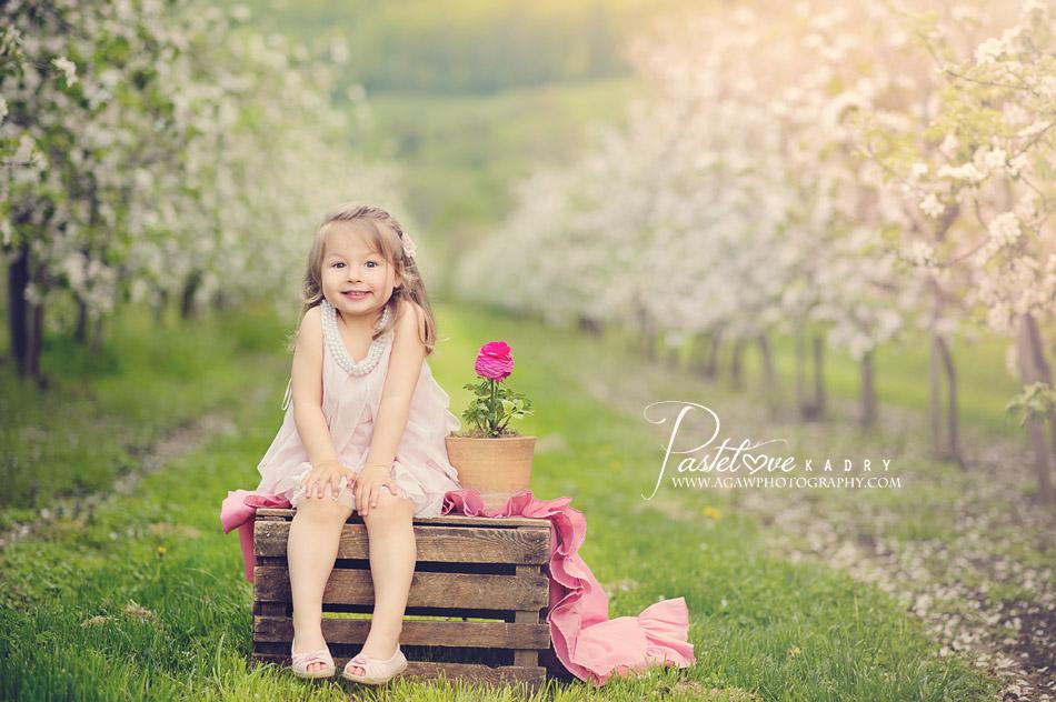 zdjęcia w kwitnącym sadzie