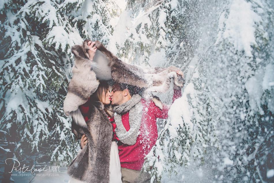 zimowa sesja dla pary