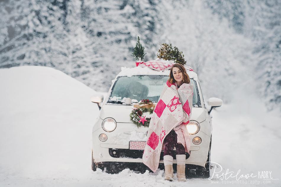 zima sesja samochod