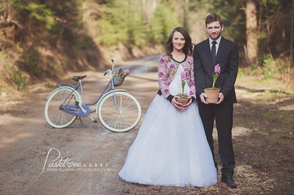 sesja ślubna rower