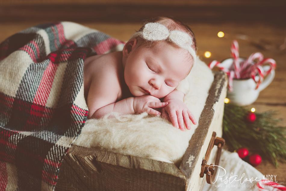 zimowa sesja noworodka