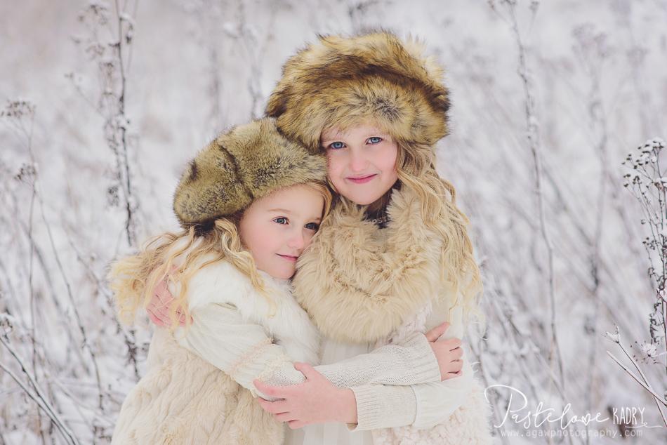 zimowa sesja dla dziewczynek