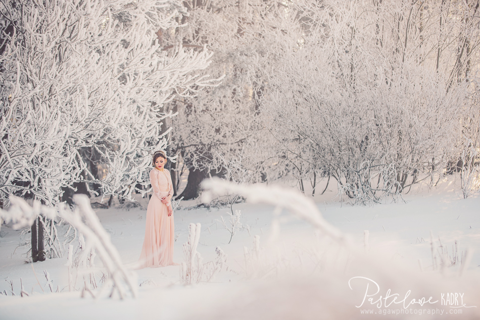 pastelowa sesja zimowa